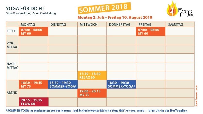 Stundenplan Sommer 2018